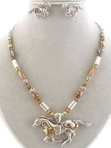 Chunky Western Tri Tone Bead Horse Pendant Necklace and Earrings Set