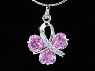 Carats Pink Hearts CZ Stone Pendant Necklace SN273