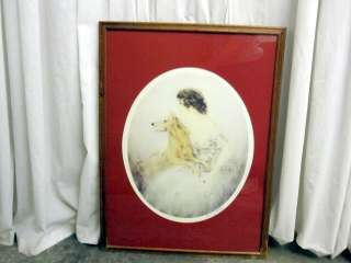 Louis Icart French Art Deco Drawing of Lady & Dog w Mat & Frame