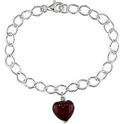 Silver Murano Glass Red Heart Charm Bracelet