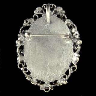 Swarovski Crystal Black Antique Look CAMEO Pin Brooch