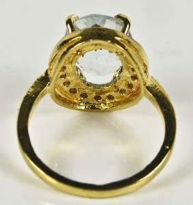 18k Gold/Sterling 4.65ct Genuine Rose Cut Diamonds & Aquamarine Ring