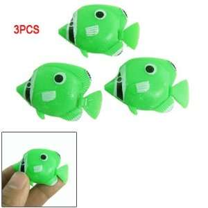 Floating Tail Green Plastic 3 Pcs Tropical Fish Aquarium