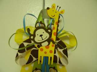 JUNGLE theme, Monkey & Giraffe Baby Shower Corsage/Pin