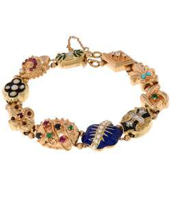 14kt Yellow Gold and Gemstone Estate Charms Slide Bracelet