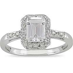 10k White Gold White Topaz and Diamond Ring