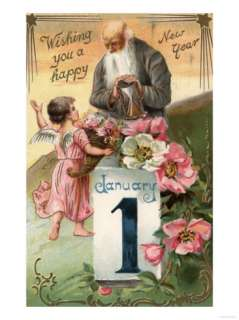 Wishing You a Happy New Year   Angel and Father Time No. 2 Posters at