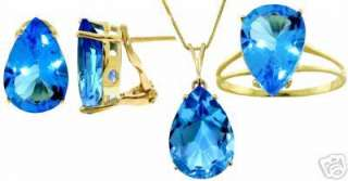 Natural Blue Topaz Pear Shaped Gemstones Set of Earrings Necklace Ring