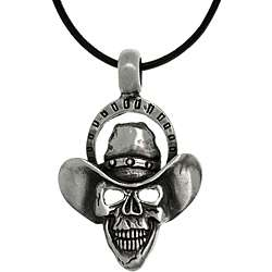 Pewter Skull Cowboy Black Leather Cord Necklace
