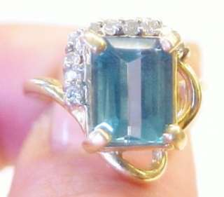 75ct Blue Topaz Diamond 14K Solid Yellow Gold Ring 4