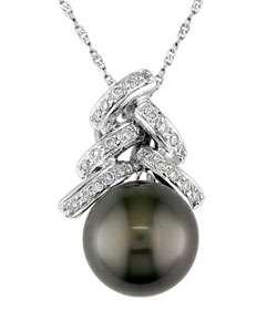 14k White Gold Cultured Black Pearl Diamond Pendant