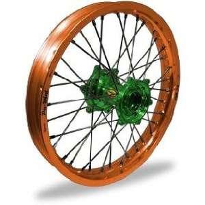 Pro Wheel MX Rear Wheel Set   19x1.85   Orange Rim/Green Hub 24 31056