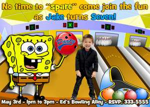 SPONGEBOB BOWLING KIDS BIRTHDAY PARTY INVITATIONS