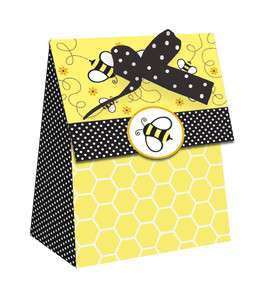 LOT OF 72 BLACK & YELLOW BEE FAVOR BAGS WITH DOT BOWS