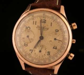 Excellent Vintage 18K Rose Gold Breitling Premier Chronograph