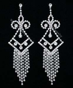 Bridal Wedding Pageant Crystal Chandelier Earrings