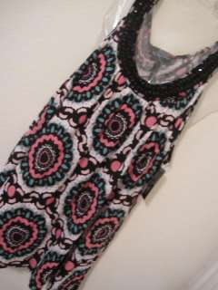 NWT SEXY STYLISH INC SLEEVELESS LONG KNIT TANK TOP TUNIC RHINESTONES