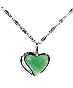 Handmade Sterling Silver Jade Heart Pendant