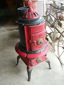Antique Pot Belly Stove BLACK & RED Foundry Bridgeport,Ala.Jacobs MFG