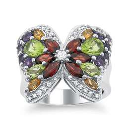 Leigh Sterling Silver Multi gemstone Butterfly Ring