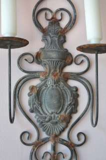 Shabby Cottage Chic 2 Arm Wall Sconce Metal Grey French