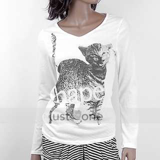 Fashion Women Ladies Long Sleeve Cat V Neck Casual T shirt Girls Top