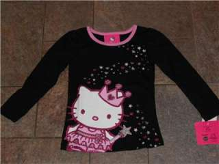 NWT Pink Black Glittery Princess Hello Kitty LS T Shirt top 4 5 6 4T