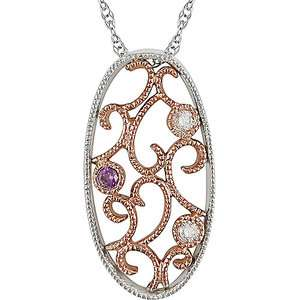 Diamond Accent 10kt White and Pink Gold Pendant, 17 Pendants