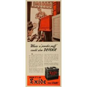 1941 Ad Electric Storage Exide Battery Automotive Explosives Handling