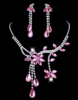 Free Charm Pink Rhinestone Necklace Earring set 26972