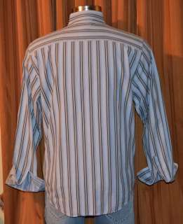 SEVEN Diamonds LONG SLEEVE BLUE BROWN 100% COTTON STRIPE SHIRT MENS