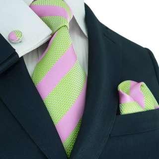 Landisun 73F Light Green Pink Stripes Mens Silk Tie Set Tie+Hanky