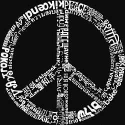 Los Angeles Pop Art Mens 77 language Peace Symbol