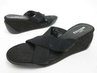 SESTO MEUCCI Canvas Black Wedge Sandals Sz 8