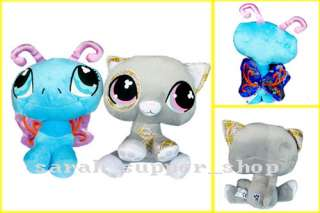 2PCS Littlest Pet Shop BUTTERFLY & CAT Soft Plush Doll