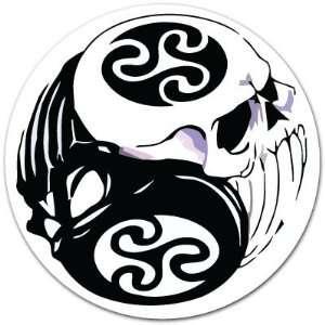 Yin Yang Skull Skulls White and Black Symbol Car Bumper Sticker Decal