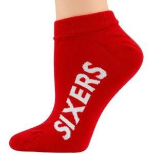 76ers Ladies Red Solid Color Ankle Socks