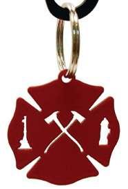 Wrought Iron Key Chain Ring MALTESE CROSS FIREFIGHTER