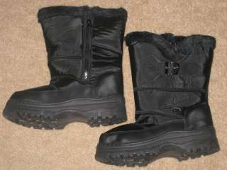 Womens BLACK SNOW BOOTS with Fashionable Buckle and Cozy Faux Fur