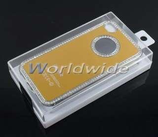 Gold Metal Aluminum/Bling Diamond/Silver Chrome Hard Case Cover For