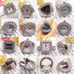 Creative Fashion Steel Quartz Finger Stretch Ring Watch Multi Style