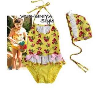 Girls Baby Cherry Blossoms Tankini Bikini Swimsuit Swimwear Swimming