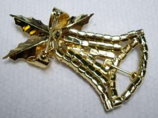 Vintage Prong Set Rhinestone Christmas Bell & Holly Pin/Brooch