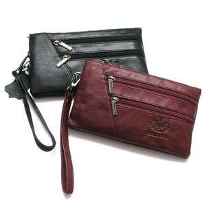New Genuine Leather Women Mini Wrist Clutch Bag wallet 328 Black/Brown