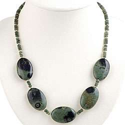 Silver Forest Green Jasper Necklace
