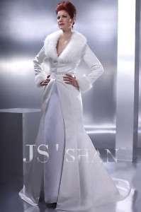 SATIN ROBE GOWN OUTWEAR COAT WINTER WEDDING DRESS