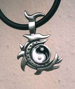 Yin Yang pendant (2 types to choose from) Comes with rubber necklace.