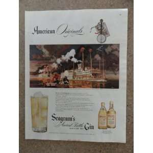 Segrams Gin,Vintage 40s full page print ad (steamboat