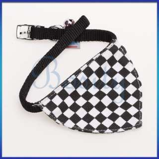 Black White Checked Pet Dog Bandana Bell Collar Scarf Neckerchief S