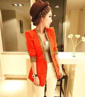 Hot Stylish Leopard Collar Candy Color Slim Suit Jacket Coat 5 Colors